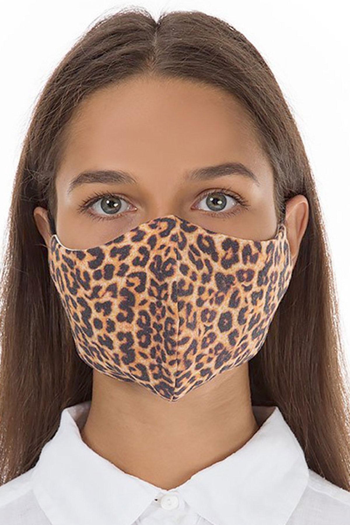 Grizas brown leopard face mask