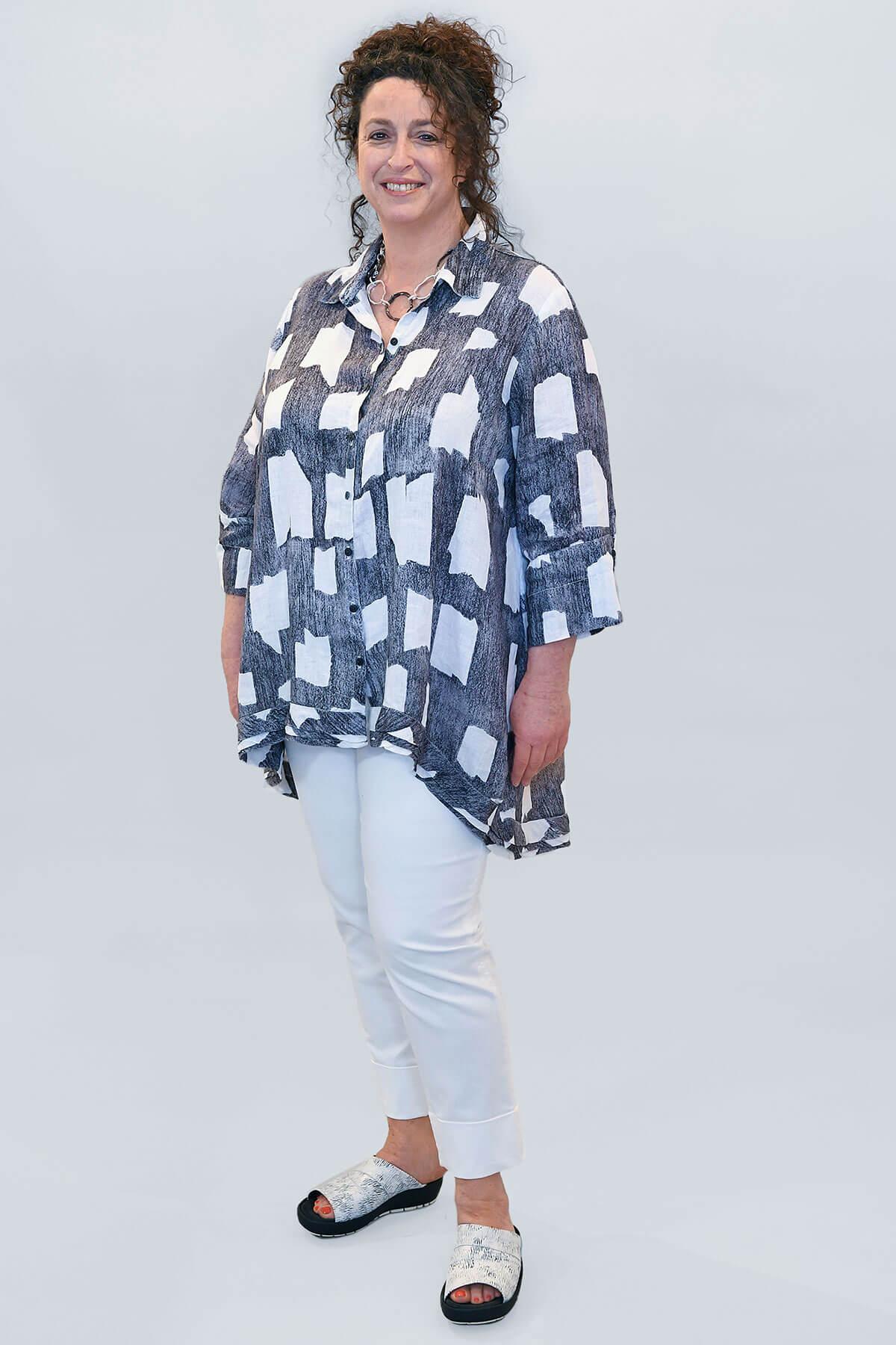 Grizas uneven linen shirt silver