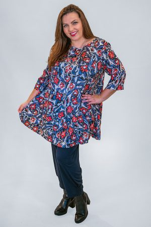 The model in this photo is wearing a Masai Gebia floral tunic with Masai Patti harem trousers from Bakou in West Wimbledon