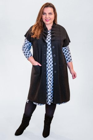 Q'neel boiled wool wave collar waistcoat worn over a Mona Lisa spotty dress available up to size 30 from Bakou