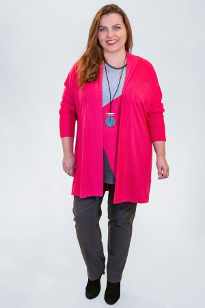 The model in this photo is wearing a pink cardi from Verpass which makes a great twin set with the Verpass block juumper in either pink or grey