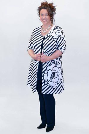 Yoek Floral striped jacket